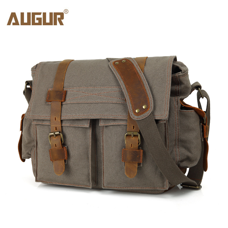AUGUR Fashion Men's HandBag Vintage High Quality Canvas Male Travel Shoulder Crossbody Vintage Military bag for Men and Women augur new men crossbody bag male vintage canvas men s shoulder bag military style high quality messenger bag casual travelling