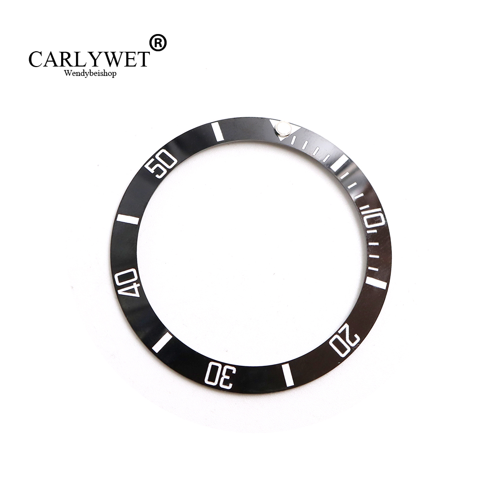 CARLYWET Wholesale Replacement Black With White Writings Ceramic Bezel 38mm Insert made for Submariner GMT 40mm 116610 LN