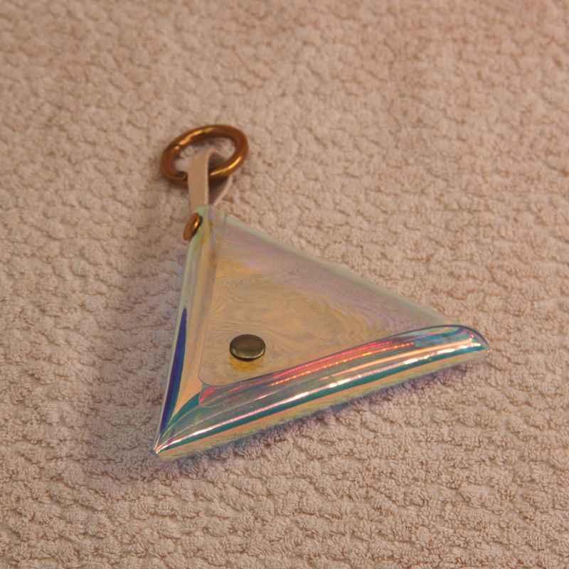 WOONAM Tam El Yapımı Kadın Moda Parlak Şeffaf Holografik Üçgen bozuk para cüzdanı Cüzdan WB554