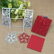 3pcs Flower flower Rectsangle Frame Metal Cutting Dies Stencil Scrapbooking Photo Album Card Paper Embossing Craft DIY