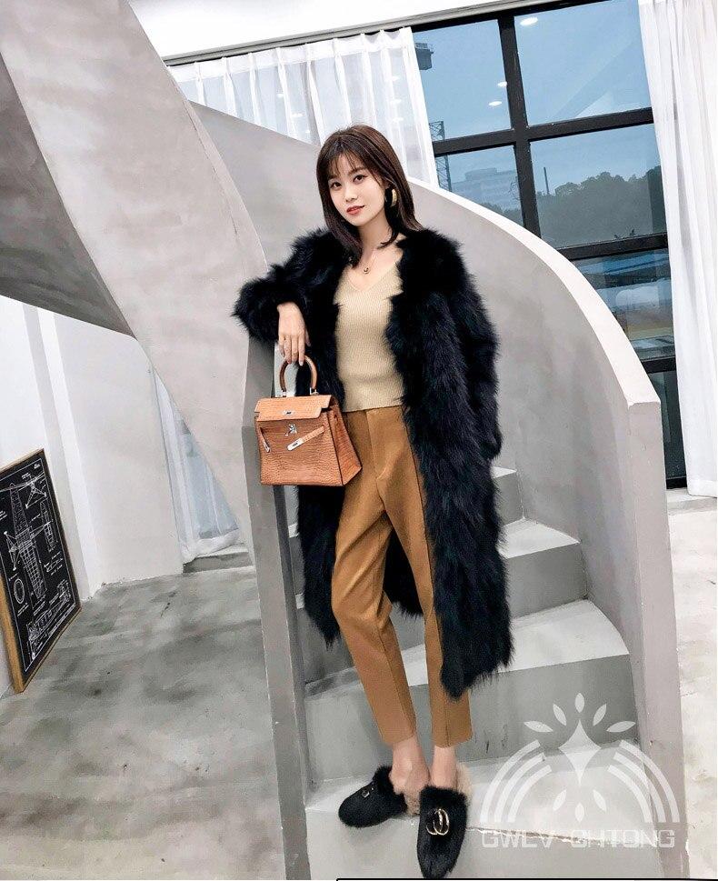 V Mode Longue Normal Laveur Réel De Manteau Veste Outwear 100 Cm Fourrure Femmes Chaud Véritable Épais Longueur Raton Dames cou 81qwWzZ1