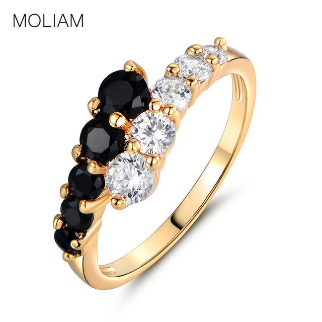 MOLIAM Fashion Classic Rings for Women Gold-Color White & Black Crystals CZ Engagement Love Ring Jewellery MLR110