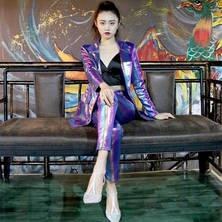 Moderna Pantalones De Etapa Cantante Traje Anfitrión Raya Celebración Danza Dama Bailarina Chaqueta Concierto Púrpura Jazz Purple Colorido t8vqWxfZg