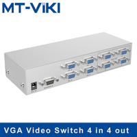 MT VIKI VGA Switch 4 in 4 out Video Splitter PC Selector Image Distributor IR Remote RS232 Serial Control MT 404CB