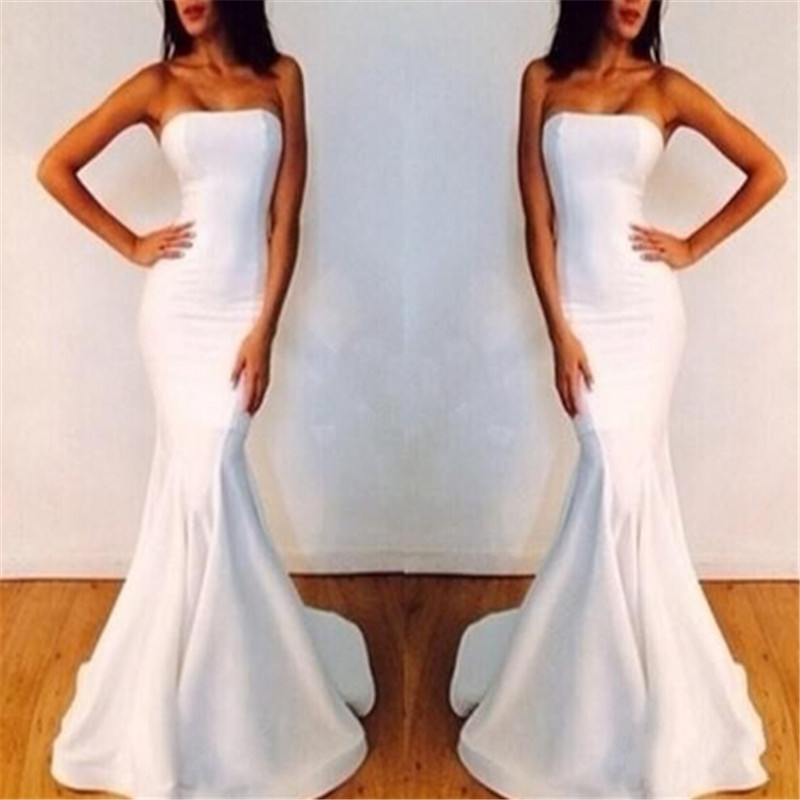Abendkleider 2016 Mermaid Simple Robe De Soiree Vestido De Festa Longo White Long Evening Dresses For Women