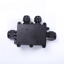 Waterproof junction box  junction box IP68 underwater wiring black one into three out outdoor with terminal black out watch box