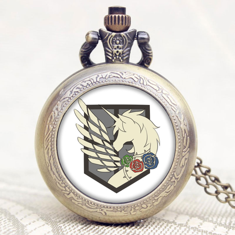 Attack on Titan Three Corps Flag Pocket Watches Pegasus Pattern Personality Accessories with Bronze Necklace Chain Clock Gifts