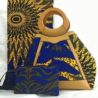 Latest Design African Fabric Wax Print Ladies Purse Bag Handbag B15122207