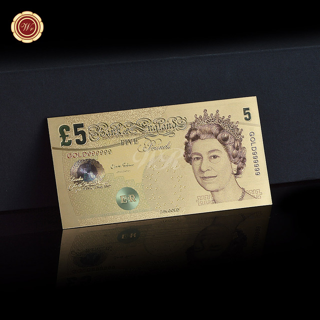 New Hot United Kingdom 5 Pounds Colorful 24k Gold Foil Plated Banknote Fake Paper Uk Money For Gifts