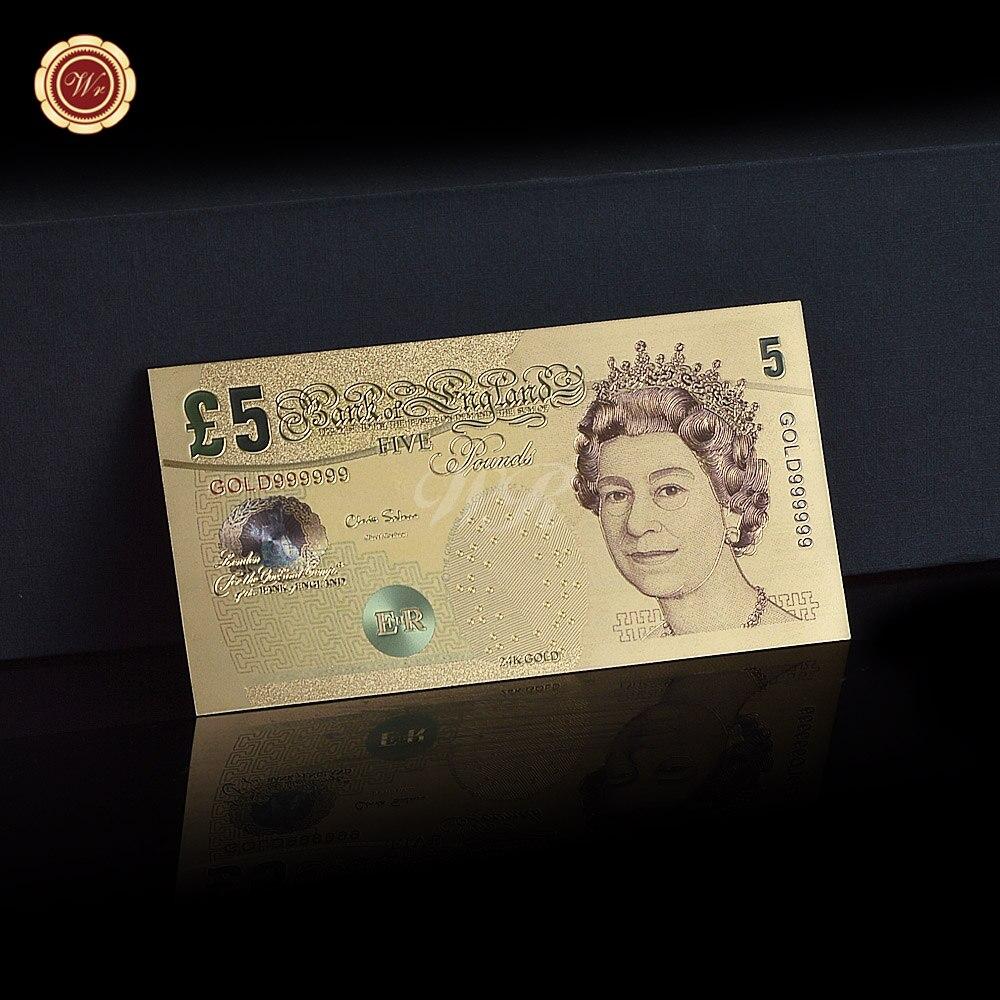 Nueva caliente Reino Unido 5 libras colorido 24 K oro plateado ...