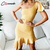 Conmoto/однотонное облегающее платье с оборками, женское платье с бантом на одно плечо, вечерние платья Feminino, сексуальные летние пляжные платья