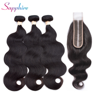 Sapphire hair Brazilian Human Hair Bundles With Lace Closure 2*6Lace Closure Body Wave Hair Extensions For Black Women Non Remy