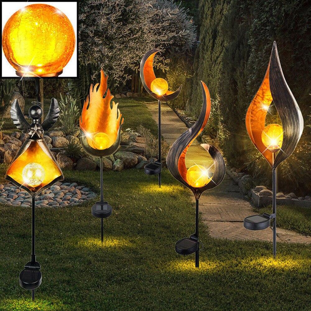 Led solar chama luz de metal led jardim luz efeito chama lâmpada à prova dwaterproof água luzes ao ar livre paisagem luzes solar luz decorativa
