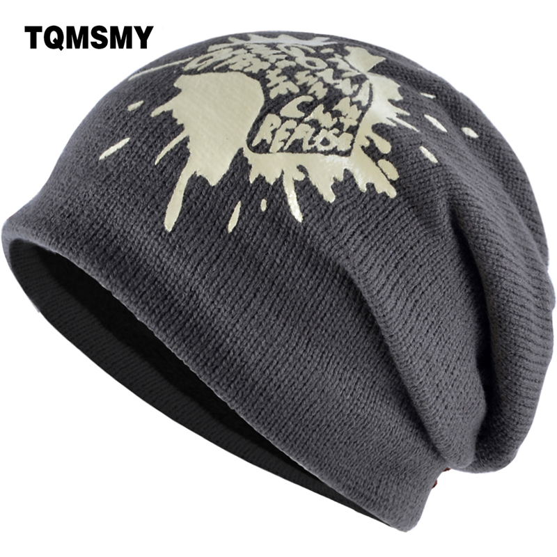 TQMSMY Winter Men Knitted Beanies Hat Caps Women Skullies Hats Velvet Beanie Printing Letters Cap Wool Gorros Touca Hat TMC12 2017 winter women beanie skullies men hiphop hats knitted hat baggy crochet cap bonnets femme en laine homme gorros de lana