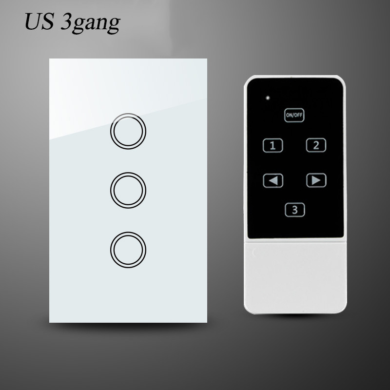 2-US 3Gang Smart  Wireless Remote Control Wall Light Switch Crystal Glass Touch Panel for Broadlink RM Pro RF433Mhz 1Year Warranty