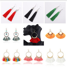 New Best Lady Bohemian Beaded Tassel Earrings For Women Unique Design Wedding Jewelry Handmade Colorful Fringed Drop Earrings(China)