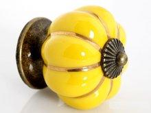 10 шт. мебельная фурнитура красочный тыквы керамические кабинет ручка ящика потяните ( диаметр : 40 мм, Цвет : желтый )