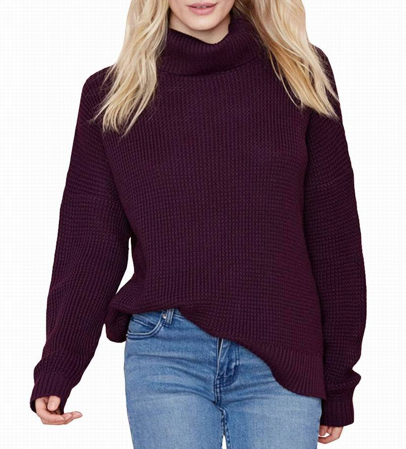 HAODUOYI Women Sweater Turtleneck Dark Red Loose Dropped Shoulder ...