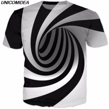 New Geometric 3D T-Shirts Men Women Summer Tops Graphic Tees 2018 Black And White Vertigo Hypnotic Printing Funny T Shirt 5XL(China)