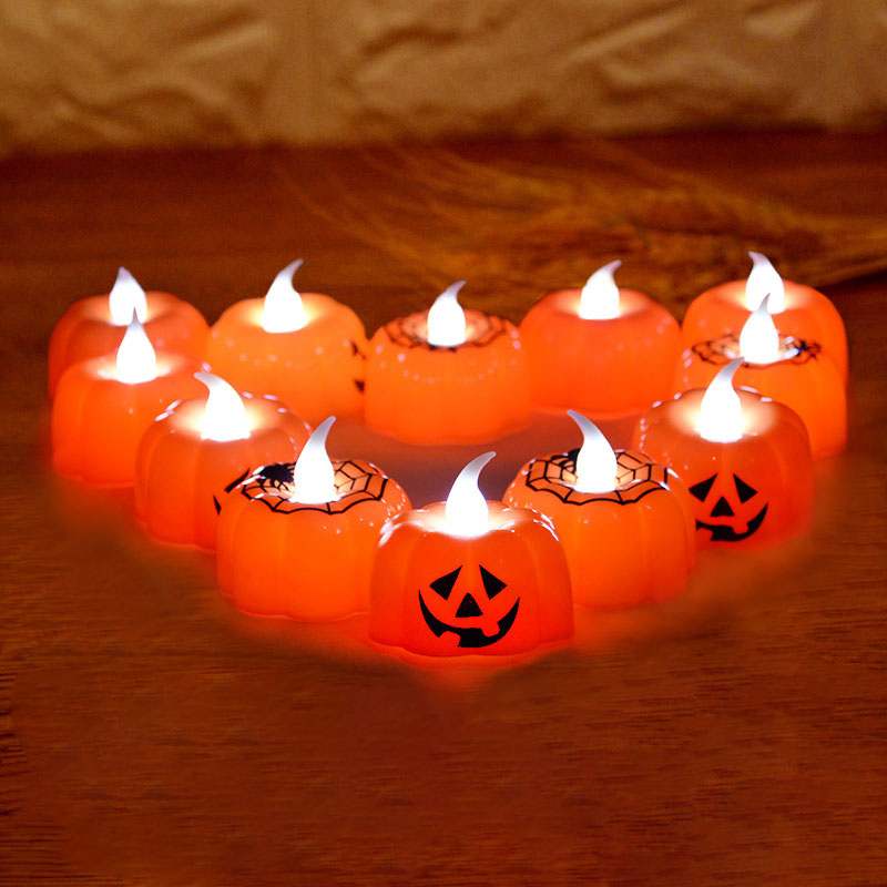 Halloween Waterproof Lighting Night Light 3D Pumpkin LED Candle Light For Indoor/Outdoor Holiday Festival Party Decor