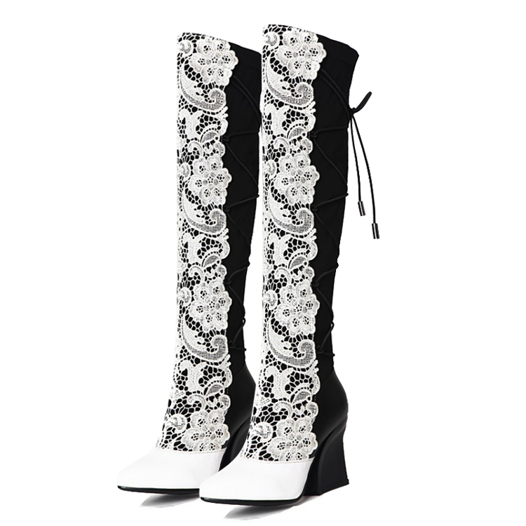 Black / White 2017 winter women' Mixed Colors Wedges Pointed Toe Riding boots Fashion Sexy Over-the-Knee Boots for women