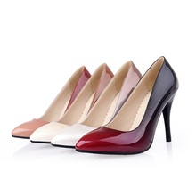 EGONERY shoes 2017 patent leather women high heels footwear pointed toe high-heel woman shoes plus size candy color high quality