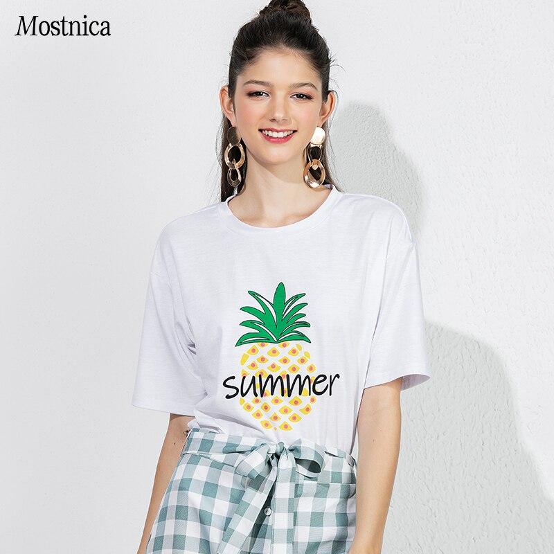 0e3a3ba70f Cheap Mostnica verano causales mujer blanca camiseta T Shirt de algodón piña  impreso manga corta suelta