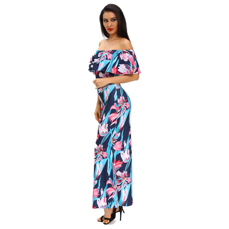Zkess Tropical Print Dress Women Long Party Dresses 2017 Elegant Bohemia Dress Maxi Mermaid Gown Vestido de festa LC61189 10