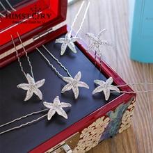 HIMSTORY Stunning Rhinestone Star Wedding Hair Pins Silver Bridal Accessories Headpiece