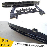PP Rear Bumper Diffuser Spoiler with Exhaust Tips for Benz C205 W205 Coupe 2DR C200 C300 C43 with AMG Package (no c63