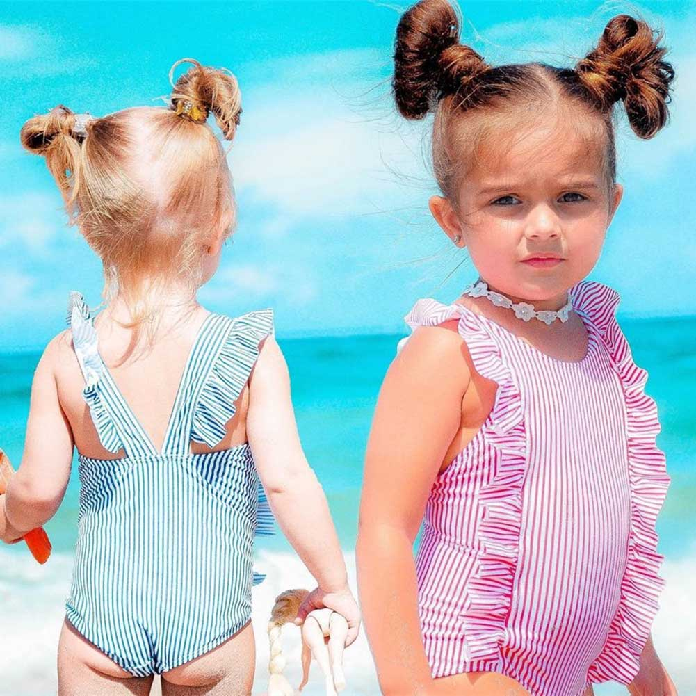 Children Kids Girl Bodysuit Jumpsuit Jumper Sleeveless Stripe Summer Fashion Clothing AN88