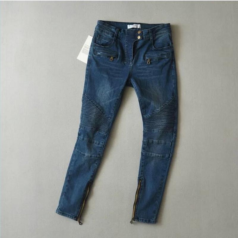 2017 new arrival Cotton Elastic Pencil Jeans Pants Pleated on knee retro zipper motorcycle Women jeans