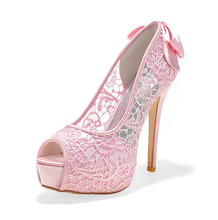 Sexy see through lace perspective high heel stiletto platform peep open toe shoes summer style bow pumps pink black white ivory