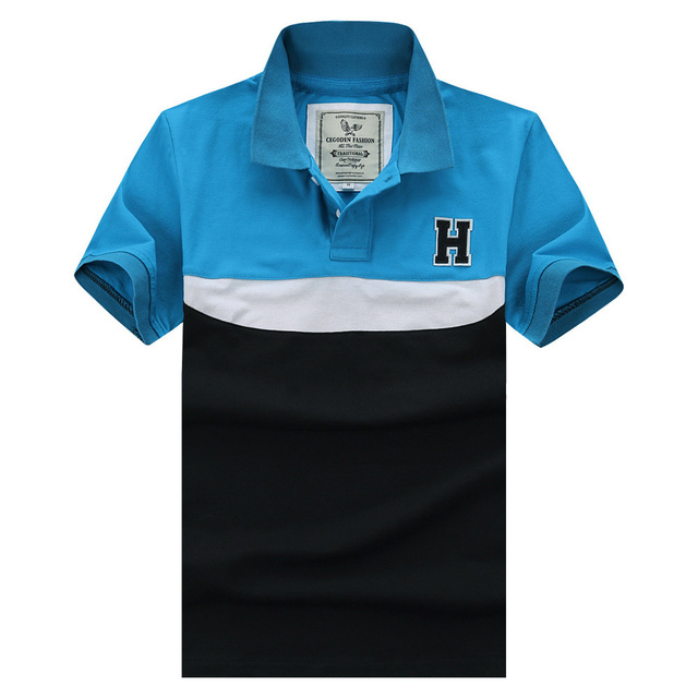 US $22 89 |Professional for Men Men's Brand Letter H Embroidery Hit Color  Striped Casual Polo Shirt Slim fit for Man Comfortable Shirt ใน  Professional