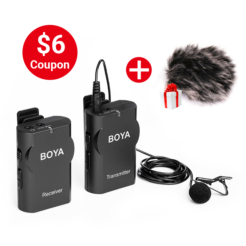 Boya BY-WM4 Professional Wireless Microphone System Lavalier Lapel Mic for Canon Nikon Sony DSLR Camcorder Recorder for iPhone X boya uhf wireless lavalier microphone recorder system for video interview broadcast mic canon nikon dslr camera sony camcorder