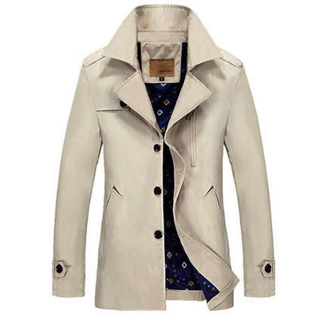 Masculino Trench Coat 2016 Outono Coreano Moda Slim Longo Casaco Masculino Casaco Fino Cor Sólida Blusão Jaqueta Casaco de 4 Cores