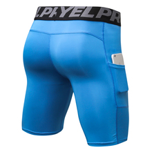 Mens Compression Running Sports Training Baselayer Quick Dry Shorts With Side Pocket