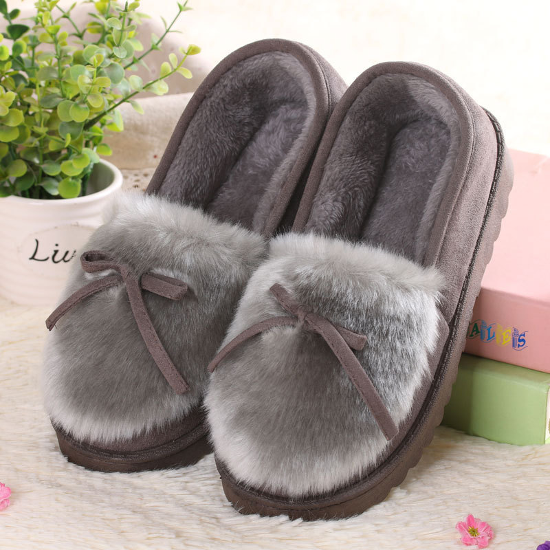 Winter Platform Shoes Women Outdoor Home Slippers Female Winter Fur Slides House Sandals Fuzzy Slippers Ladies Cute Loafers Bow concise platform and bow design slippers for women