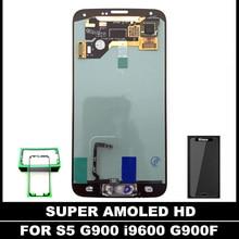 SUPER AMOLED LCD Para Samsung Galaxy I9600 S5 G900 G900A G900F Pantalla LCD Reemplazo Asamblea de Pantalla Táctil Botón de Inicio Sticker