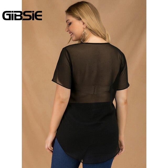 GIBSIE Plus Size Women Summer Color Block Sequin Top Chiffon See Through Black T Shirt Female O-neck Short Sleeve Casual Tshirt 2