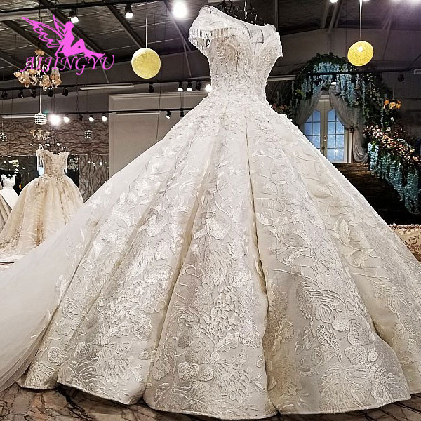 AIJINGYU Puffy Dresses Empire Gowns Marriage Wears Satin