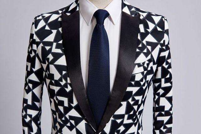 Black White Triangle Pattern Blazer Slim Fit Designs  4
