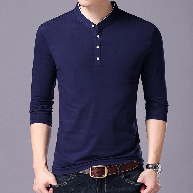 2018 Hombre marca moda Camisetas Hombre Casual Camiseta Hombre Ropa de Fitness camiseta hombres Pullover algodón de manga larga T-shirt Tops