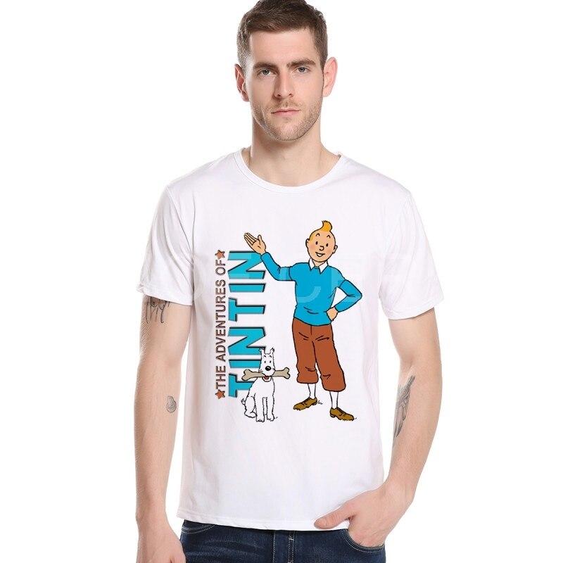 Тинтин Приключения классический анимация футболки с героями мультфильмов Топ Для мужчин футболка новый Дизайн брендовые летние Для мужчин...