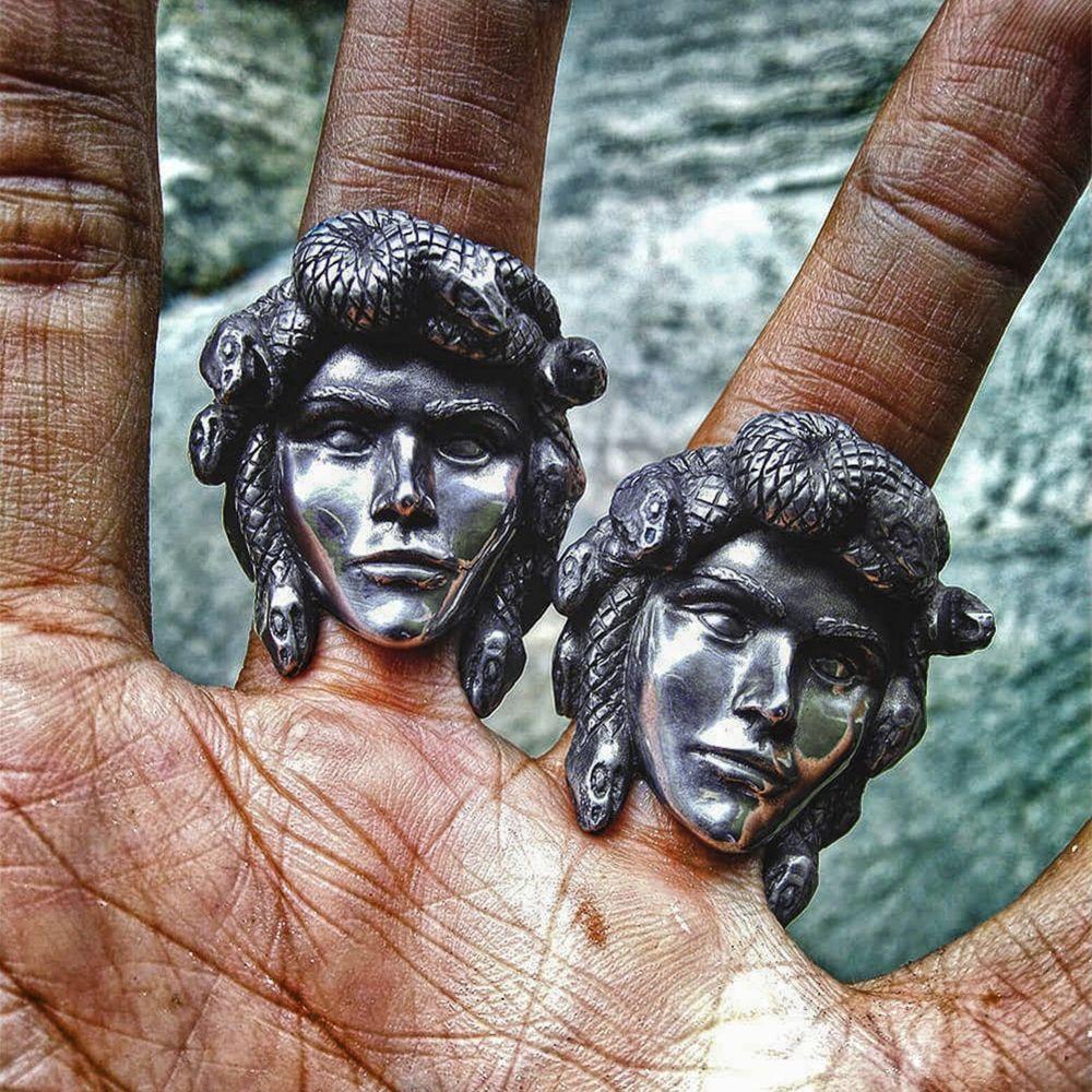 Ancient Greek Mythology Medusa Stainless Steel Ring Gothic Silver Color Snake Hair Gorgon Ring Punk Biker Jewelry