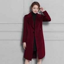 Hchenli Brand Wool Coat Women Large Classic Blends Dark Blue Long Jacket Coat Female Ladies Outerwear