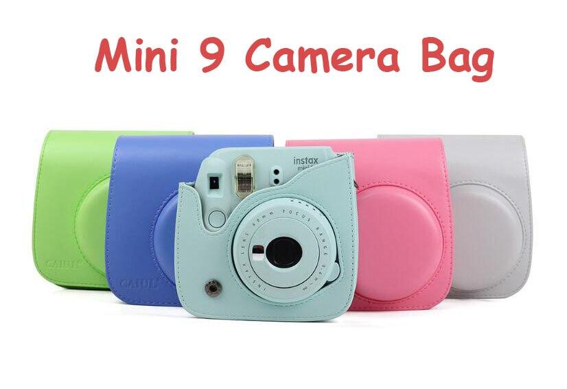 PU cuero Fujifilm Instax Mini 9 instantánea Cámara bolsa correa de hombro accesorios de la cámara del bolso del caso Protector de la cubierta bolsa