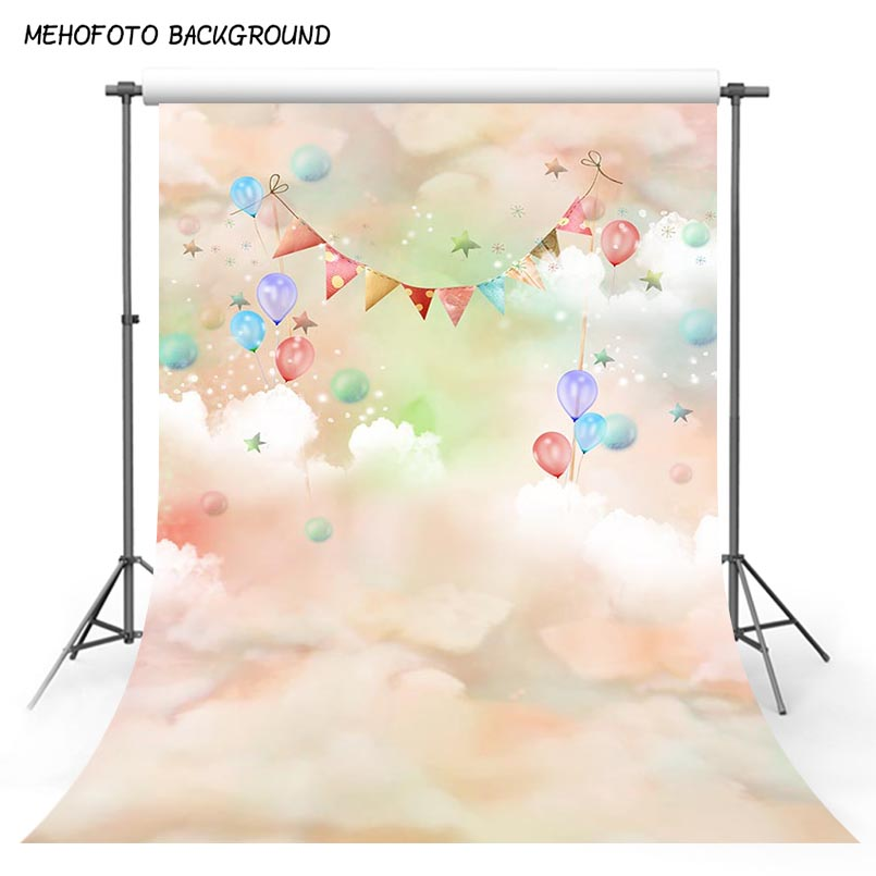 Vinyl Photography Background Dreanland Clouds Colorful Balloons Baby Birthday Newborn Children Backdrops for Photo Studio S-3042 настольные часы uniel utl 15rwx