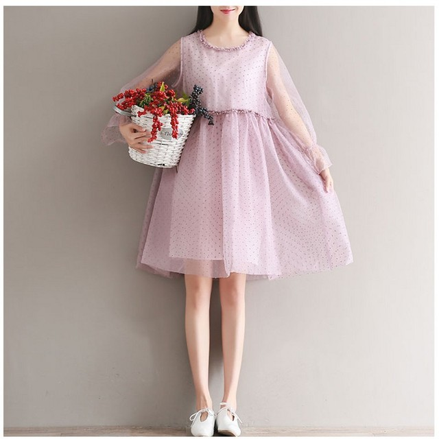 Summer Dress High Waist A Line Vestido De Festa Beach Chiffon Dress O-Neck Collar Mesh Dress Plus Size 2017 Lace Dress