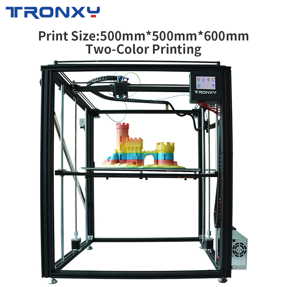 TRONXY Big DIY 3D Printer Cyclops 2 In 1 Out Double Color Extruder Heat bed Touch Screen Large Size 500*500*600mm X5ST-500-2E image